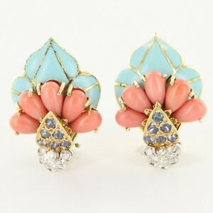 Diamond Coral Sapphire Enamel Vintage Cocktail Earrings 18k Gold Estate Jewelry