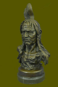NATIVE AMERICAN INDIAN WARRIOR CHIEF 100% BRONZE ON MARBLE SCULPTURE STATUE GIFT