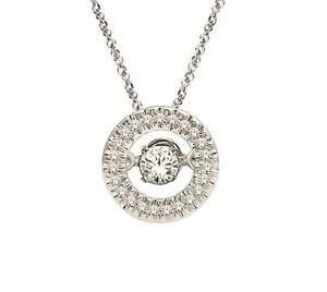 Twinkle Diamond Necklace 10K White Gold Circle Floating Diamond Pendant .10ct