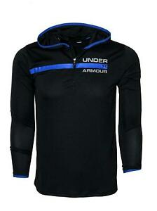 Under Armour Big Boys 8 18 Athletic Zip Black Hooded Shirt Hoodie Size S $39.95