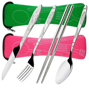 4 Pcs Stainless Steel Knife Fork Spoon Chopsticks Travel Camping Cutlery Charm