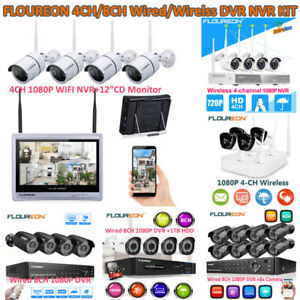 1080P 48CH WirelessWired HDMI NVR 4x Outdoor Camera Video Home Security System