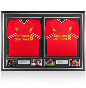 Framed Luis Suarez & Steven Gerrard Front Signed Liverpool Home Shirts In Master