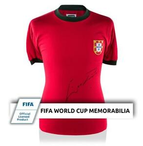 Eusebio Official FIFA World Cup Front Signed Retro Portugal Shirt Autograph