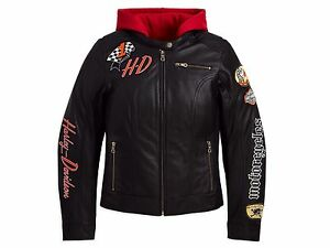 Harley Davidson Women JOYRIDE Black Leather Jacket Red Hoodie 3in1 1W 97071-11VW