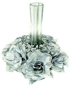 Candle Rings Silk Roses Artificial Flowers Party Decor Wedding Table Centerpiece