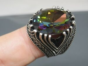 Turkish Handmade Jewelry 925 Sterling Silver Rainbow Stone Men's Ring Sz 11