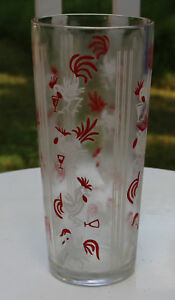 Very heavy 1950s Cocktail Shaker Roosters Painted Red & White  No Lid