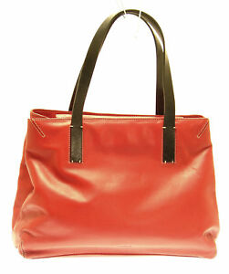 PRAGUE Red Soft Leather Satchel Tote Handbag 3 Sections
