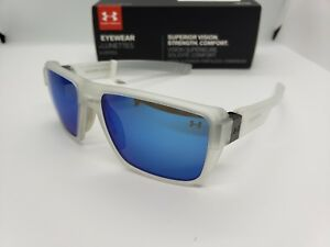 NEW UNDER ARMOUR RECON SUNGLASSES Crystal  Blue-Green Mirror lens MSRP $