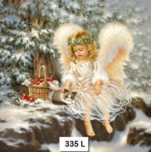 335 TWO Individual Paper Luncheon Decoupage Napkins ANGEL GIRL SNOW KITTEN