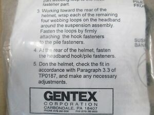 New Gentex USMC Lightweight Helmet Sweatband Chin Strap Replacement Kit MEDIUM