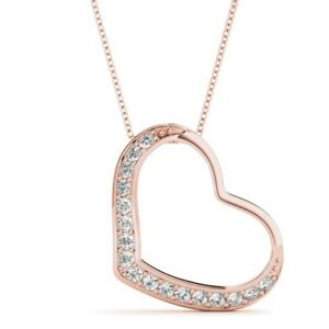 NEW 14k ROSE GOLD DIAMOND FLOATING HEART LOVE PENDANT NECKLACE JEWELRY