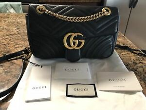 Authentic Gucci Small Marmont 2.0 Black Leather Bag