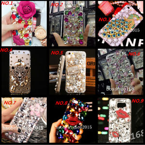 Jewelled Bling Crystal Diamonds Soft TPU Phone back Case Cover & neck strap #C