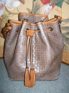 DOONEY & BOURKE WOVEN PATTERN LEATHER DRAWSTRING BAG TAUPE