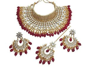 Bridal Collar Choker Kundan Wedding Necklace Earring Red Bollywood Jewelry Set