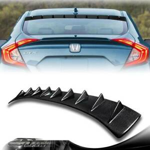 Carbon Fiber Shark Fin Rear Roof Spoiler Wing For 2016-2018 HONDA CIVIC SEDAN 4D