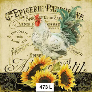 473 TWO Individual Paper Luncheon Decoupage Napkin ROOSTER SUNFLOWERS FRENCH