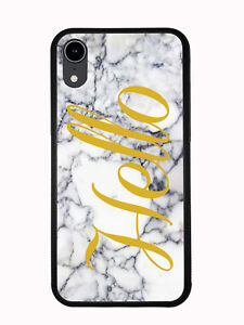 White Marbel Print With Hello For Iphone XR 6.1 2018 Case