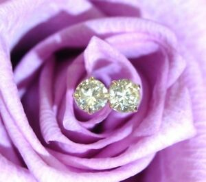 .20CTW Light Champagne Natural Untreated Diamond 14K Yellow Gold Stud Earrings
