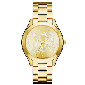 New Michael Kors Women Lare 42mm Case Gold Logo Glitz Bracelet Watch MK3590