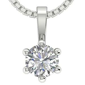 Genuine Diamond SI1 G 12 Ct Solitaire Pendant Necklace Prong Set 14K White Gold