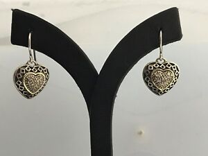 925 Sterling & 14K Gold Diamond Heart Earrings