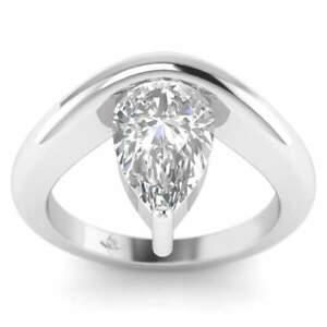 Platinum Unusual Floating Designer Pear Shaped Diamond Engagement Ring - 1.75 ct