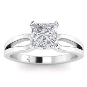 Platinum 1.75 ct DSI1 Princess Cut Diamond Engagement Ring Designer Split Shank
