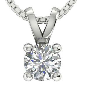 Solitaire Pendant Necklace I1 G 0.25 Ct Round Diamond 14K White Gold Prong Set