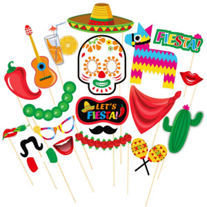 LUOEM Mexican Photo Booth Props Fiesta Cinco De Mayo Party Supplies Carnival for