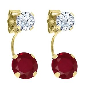 2.76 Ct Round Red Ruby White Topaz 14K Yellow Gold Earrings