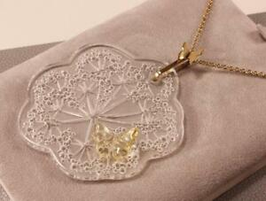 LALIQUE OMBELLES WITH BUTTERFLY CRYSTAL & GOLD PLATED CHAIN PENDANT NECKLACE