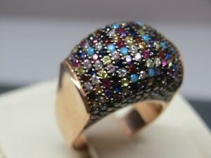 Turkish Handmade Jewelry 925 Sterling Silver Multi Stone Ladies' Ring Sz 7