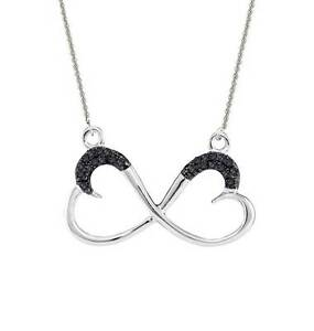 Black Diamond Necklace Infinity Heart Shape 100% 10K White Gold 18