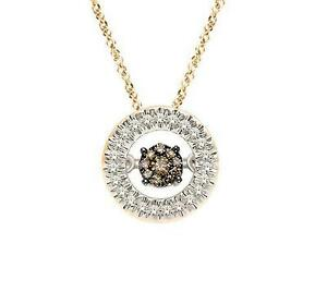 Chocolate Brown Twinkle Diamond Necklace 10K Yellow Gold Floating Diamond Circle