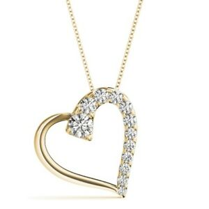 NEW 14k YELLOW GOLD DIAMOND FLOATING HEART LOVE PENDANT NECKLACE JEWELRY 1ct.