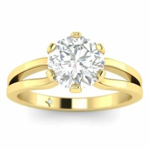 Yellow Gold Designer Split Shank 6-Prong Round Diamond Engagement Ring - 1.25