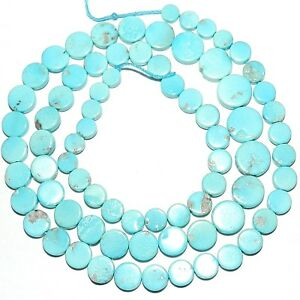 T462 Sleeping Beauty Blue Turquoise 4mm - 8mm Graduated Round Coin Beads 18