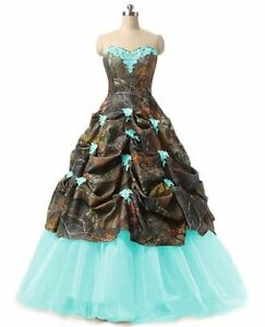Long Camo Wedding Dress Camouflage Lace Up Ball Gown Formal Bridal Gown Custom