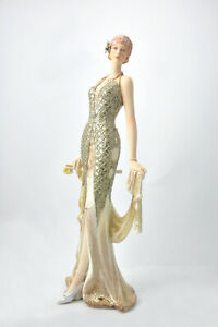 1940 Elegant Lady Girl Woman Cold Cast Art Deco Sculpture Figurine Statue Decor