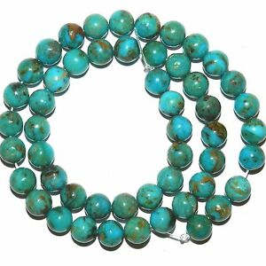 T917 Natural Vivid Blue KINGMAN MINE Turquoise 8mm Round Gemstone Beads 15