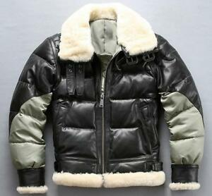 B3 fly air force flight bomber Real leather down jacket men winter coat New