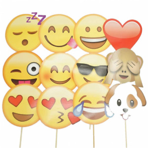 Veewon Emoji Photo Booth Props Party Supplies 12 Piece Funny DIY Kit for Hen Bi