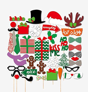 Veewon Merry Christmas Photo Booth Props 39 piece DIY Kit for Xmas Party Dress-u