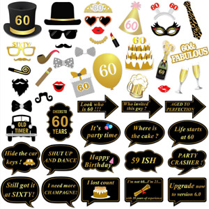 60th Birthday Party Photo Booth Props (51Pcs) for Her Him Gold and Black Decorat