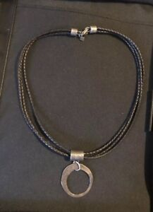 Silpada .925 Sterling Silver Black Leather Cord Circle Pendant Necklace