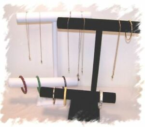 2 T-Bars 1 White Leather & 1 Black Vevet Jewelry Display Stand Necklace Bracelet