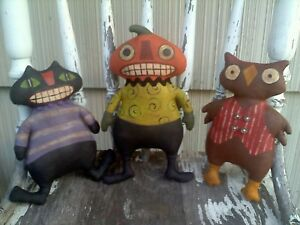 MADE TO ORDER Primitive Folk Art Pumpkin Guy Black Cat & Owl Halloween Doll Set